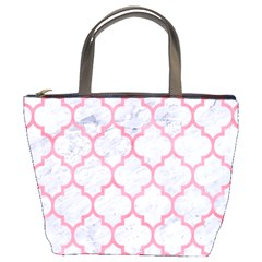 Tile1 White Marble & Pink Watercolor (r) Bucket Bags