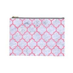 Tile1 White Marble & Pink Watercolor (r) Cosmetic Bag (large)
