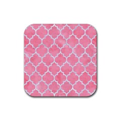 Tile1 White Marble & Pink Watercolor Rubber Square Coaster (4 Pack)