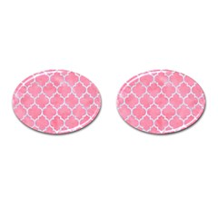 Tile1 White Marble & Pink Watercolor Cufflinks (oval)