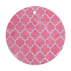 Tile1 White Marble & Pink Watercolor Round Ornament (two Sides)