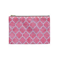 Tile1 White Marble & Pink Watercolor Cosmetic Bag (medium)