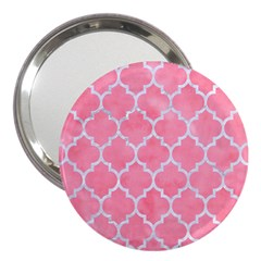 Tile1 White Marble & Pink Watercolor 3  Handbag Mirrors