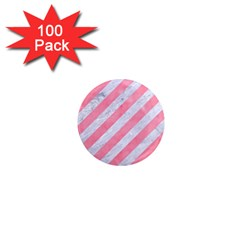 Stripes3 White Marble & Pink Watercolor (r) 1  Mini Magnets (100 Pack)