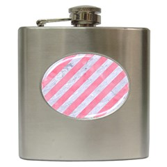 Stripes3 White Marble & Pink Watercolor (r) Hip Flask (6 Oz)