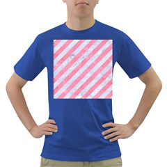 Stripes3 White Marble & Pink Watercolor (r) Dark T Shirt