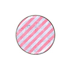 Stripes3 White Marble & Pink Watercolor (r) Hat Clip Ball Marker (10 Pack)