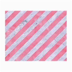Stripes3 White Marble & Pink Watercolor (r) Small Glasses Cloth