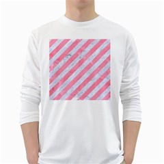 Stripes3 White Marble & Pink Watercolor (r) White Long Sleeve T Shirts