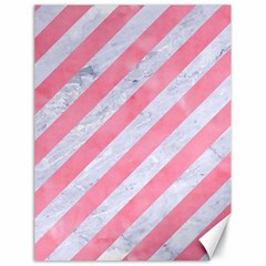 Stripes3 White Marble & Pink Watercolor (r) Canvas 18  X 24