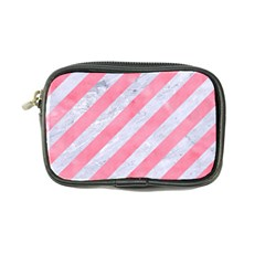 Stripes3 White Marble & Pink Watercolor (r) Coin Purse