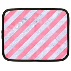 Stripes3 White Marble & Pink Watercolor (r) Netbook Case (xxl)