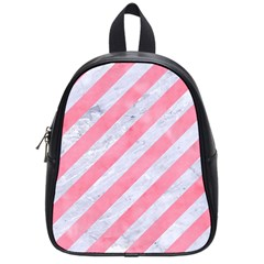Stripes3 White Marble & Pink Watercolor (r) School Bag (small)