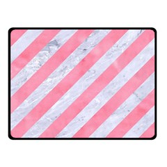 Stripes3 White Marble & Pink Watercolor (r) Fleece Blanket (small)