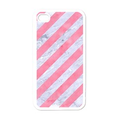 Stripes3 White Marble & Pink Watercolor (r) Apple Iphone 4 Case (white)