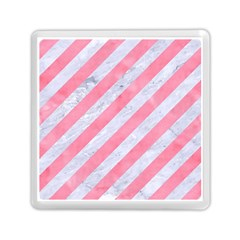 Stripes3 White Marble & Pink Watercolor (r) Memory Card Reader (square)