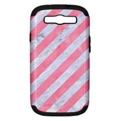 Stripes3 White Marble & Pink Watercolor (r) Samsung Galaxy S Iii Hardshell Case (pc+silicone)