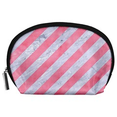 Stripes3 White Marble & Pink Watercolor (r) Accessory Pouches (large)