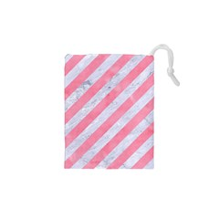 Stripes3 White Marble & Pink Watercolor (r) Drawstring Pouches (xs)