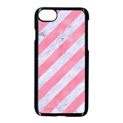 Stripes3 White Marble & Pink Watercolor (r) Apple Iphone 8 Seamless Case (black) by trendistuff