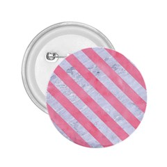 Stripes3 White Marble & Pink Watercolor 2 25  Buttons