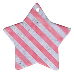 Stripes3 White Marble & Pink Watercolor Ornament (star)