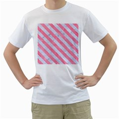 Stripes3 White Marble & Pink Watercolor Men s T Shirt (white) (two Sided)