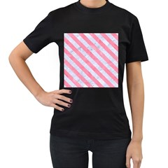 Stripes3 White Marble & Pink Watercolor Women s T Shirt (black) (two Sided)