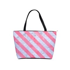 Stripes3 White Marble & Pink Watercolor Shoulder Handbags