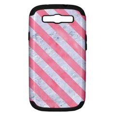 Stripes3 White Marble & Pink Watercolor Samsung Galaxy S Iii Hardshell Case (pc+silicone)
