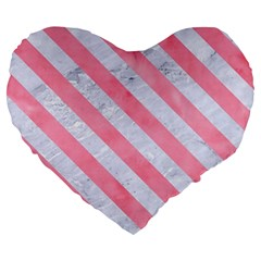 Stripes3 White Marble & Pink Watercolor Large 19  Premium Heart Shape Cushions by trendistuff