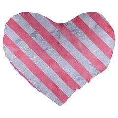 Stripes3 White Marble & Pink Watercolor Large 19  Premium Flano Heart Shape Cushions