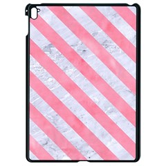 Stripes3 White Marble & Pink Watercolor Apple Ipad Pro 9 7   Black Seamless Case