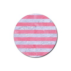 Stripes2white Marble & Pink Watercolor Rubber Coaster (round)