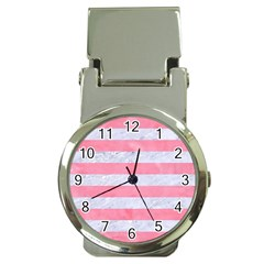 Stripes2white Marble & Pink Watercolor Money Clip Watches
