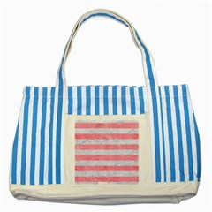 Stripes2white Marble & Pink Watercolor Striped Blue Tote Bag