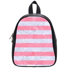 Stripes2white Marble & Pink Watercolor School Bag (small)