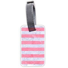 Stripes2white Marble & Pink Watercolor Luggage Tags (one Side)