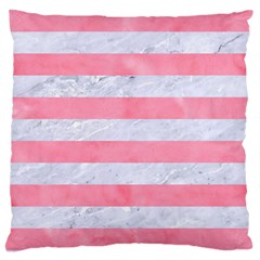 Stripes2white Marble & Pink Watercolor Large Cushion Case (two Sides) by trendistuff