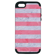 Stripes2white Marble & Pink Watercolor Apple Iphone 5 Hardshell Case (pc+silicone)