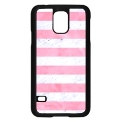 Stripes2white Marble & Pink Watercolor Samsung Galaxy S5 Case (black)
