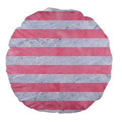 Stripes2white Marble & Pink Watercolor Large 18  Premium Flano Round Cushions