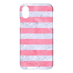 Stripes2white Marble & Pink Watercolor Apple Iphone X Hardshell Case