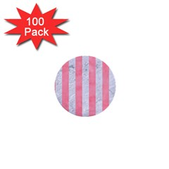 Stripes1 White Marble & Pink Watercolor 1  Mini Buttons (100 Pack)
