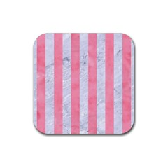 Stripes1 White Marble & Pink Watercolor Rubber Coaster (square)
