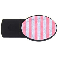 Stripes1 White Marble & Pink Watercolor Usb Flash Drive Oval (2 Gb)