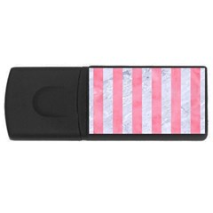 Stripes1 White Marble & Pink Watercolor Rectangular Usb Flash Drive
