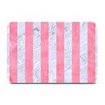 STRIPES1 WHITE MARBLE & PINK WATERCOLOR Plate Mats 18 x12 Plate Mat - 1