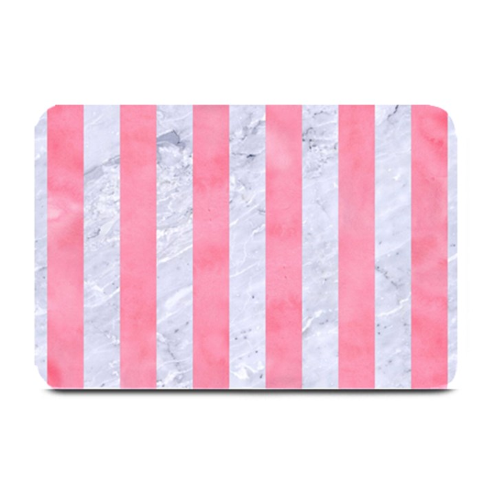 STRIPES1 WHITE MARBLE & PINK WATERCOLOR Plate Mats