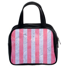Stripes1 White Marble & Pink Watercolor Classic Handbags (2 Sides)
